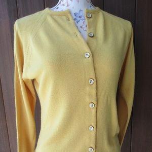 Vtg Mustard Cardigan Sweater 36